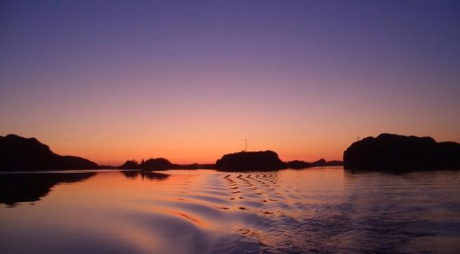 Pakterholmen i solnedgang